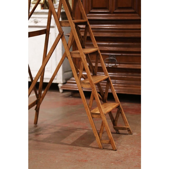 Metal 19th Century French Napoleon III Carved Walnut Folding Library Six-Step Ladder For Sale - Image 7 of 12
