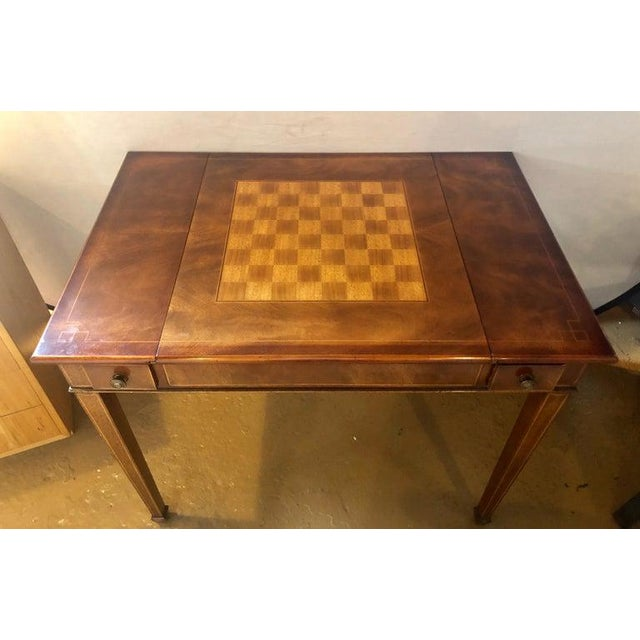 Mahogany Federal style Smith and Watson game / card table having a card table with a side top chess, checker and...