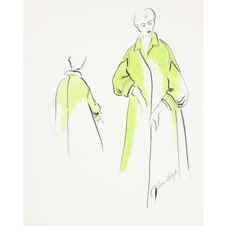 1950s Chartreuse Coat Fashion Illustration For Sale