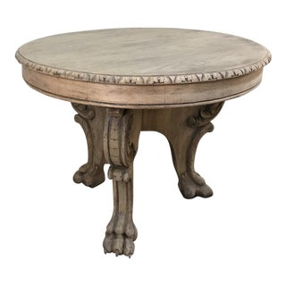 19th Century Renaissance Revival Stripped Oak Center Table