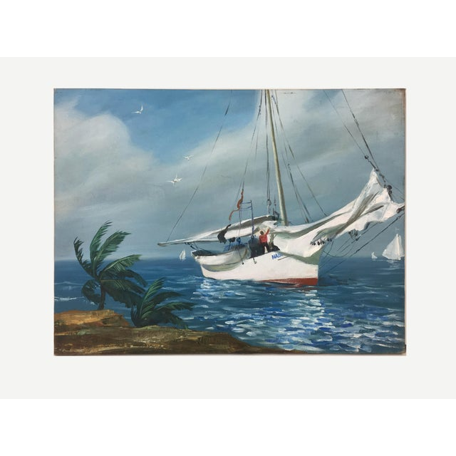Vintage Impressionism Harbor View Painting For Sale - Image 4 of 4