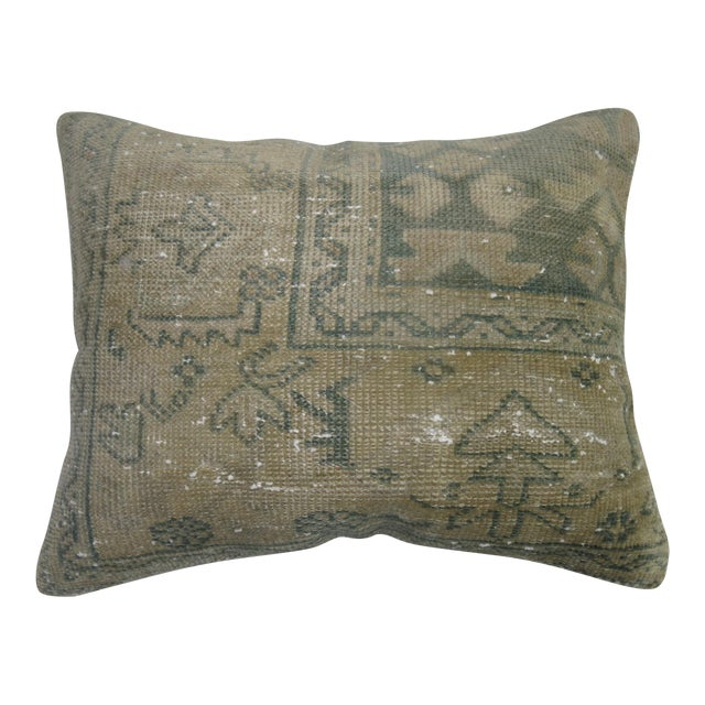Mint Green Turkish Rug Pillow - Image 1 of 3