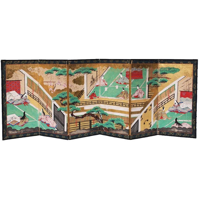 Exquisite and exceptional 17th or 18th century Japanese Six-Panel Byobu Screen depicting The Tale of Genji or Genji...