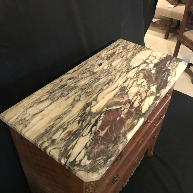 French Antique Marquetry Commode or Chest of Drawers With Marble Top For Sale - Image 4 of 13