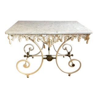 French Pastry Table Console With Wrought Iron Base and Marble Top For Sale