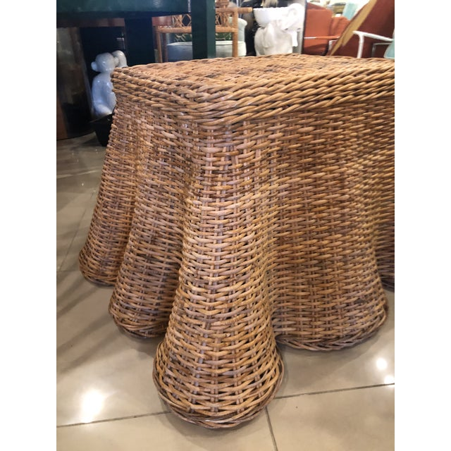 Brown Vintage Palm Beach Tropical Trompe l'Oeil Wicker Draped Coffee Table For Sale - Image 8 of 13