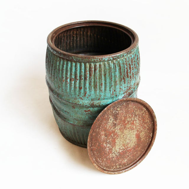 Vintage Iron Barrel Side Table - Image 3 of 3