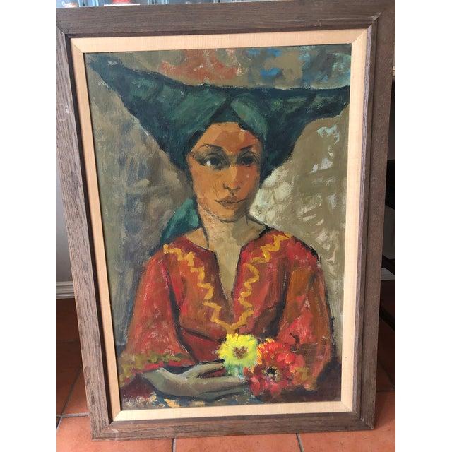 Vintage Painting Portrait by Joe Van Cleave For Sale - Image 9 of 12