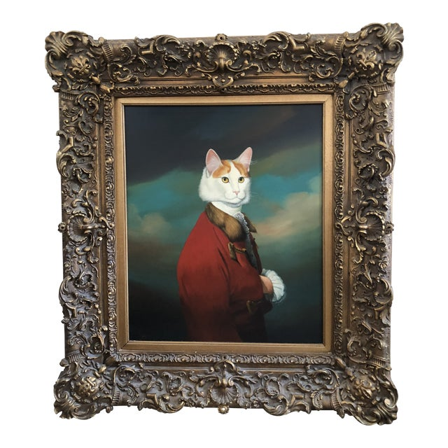 """Antique 18th Century English """"Cat in Suit"""" Oil Painting For Sale"""