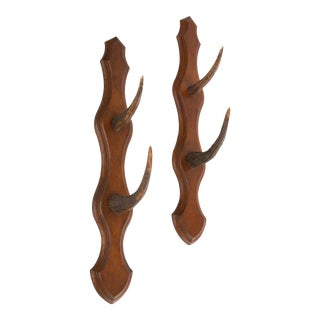 French Antler Hanging Racks Hooks - a Pair For Sale
