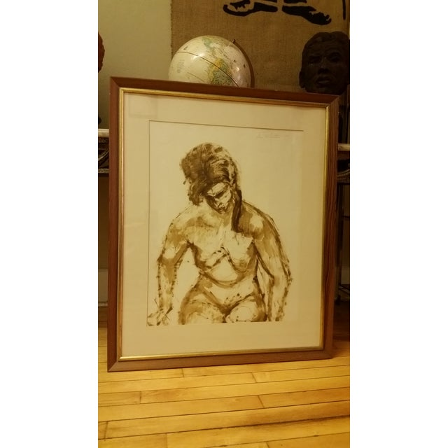 1963 Mid-Century Watercolor Nude Painting - Image 2 of 7