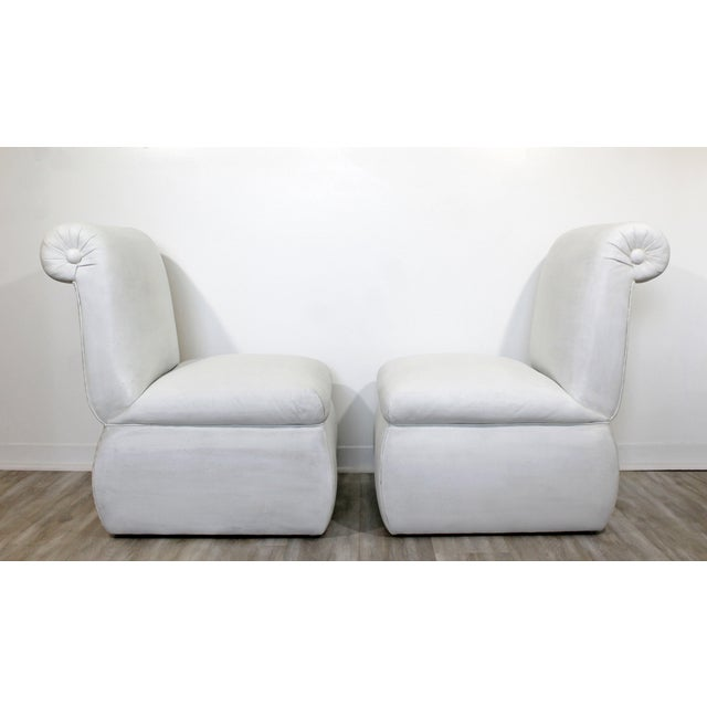 Leather Contemporary Modern White Leather Accent Slipper Side Chairs, 1980s - a Pair For Sale - Image 7 of 10