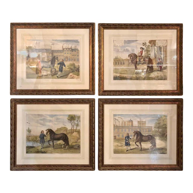 Set of Four Finely Framed and Matted Engravings of English Men on Their Horses For Sale
