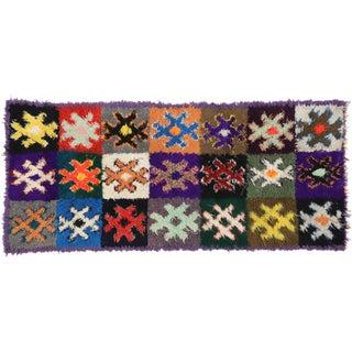 1970s Vintage Berber Boucherouite Moroccan Shag Rug Runner - 4′4″ × 10′ For Sale