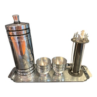 Vintage Art Deco Chase Gaiety Chrome Cocktail Shaker Set-Patented in 1933 - Set of 15 For Sale