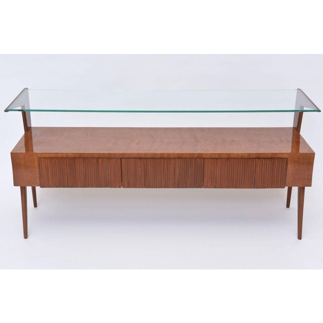 Italian Italian Modern Walnut and Glass Top Two-Tiered Low Table, Paulo Buffa Attributed For Sale - Image 3 of 11