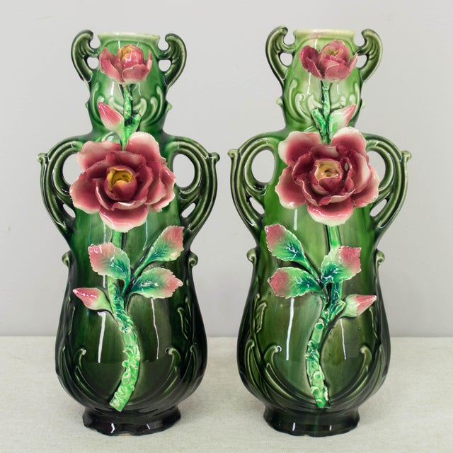 French Art Deco Majolica Set - 3 Pieces For Sale - Image 10 of 11