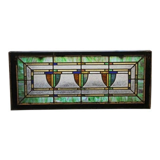 Stained Glass Antique Window With Shield Motifs For Sale