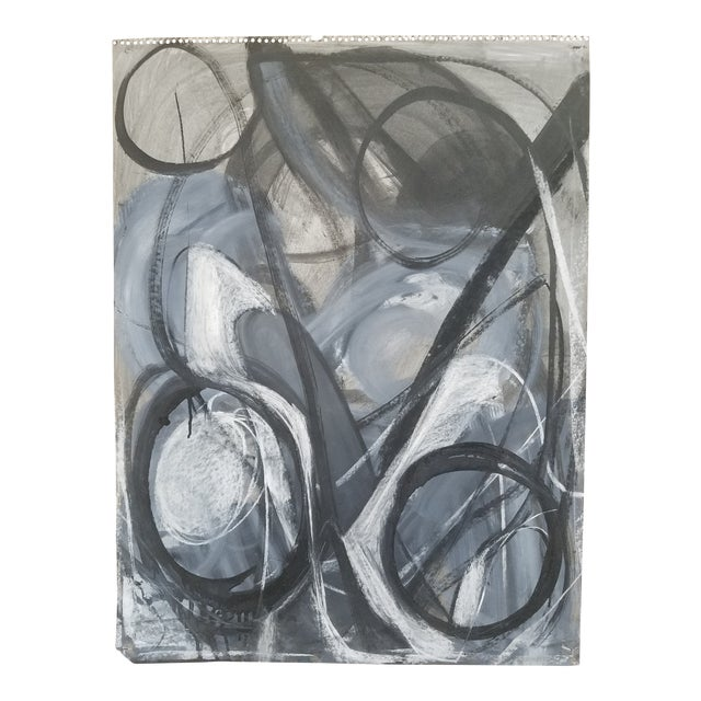 Abstract Black and White Charcoal Drawing #5 by Terry Frid For Sale