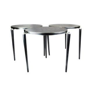 1950s Scandinavian Modern Black & Chrome Stacking Tables - Set of 3 For Sale