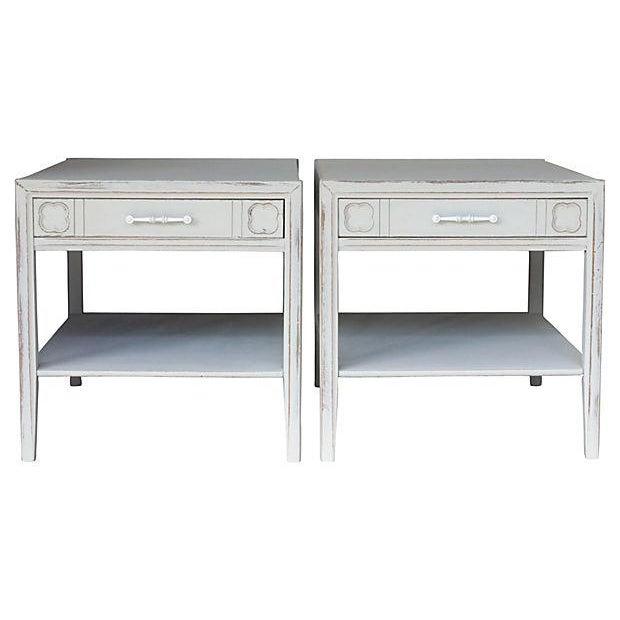 Mid-Century Gray Side Tables - Pair - Image 1 of 7