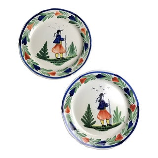 Early 20th Century French Quimper Pottery Dinner Plates - a Pair For Sale