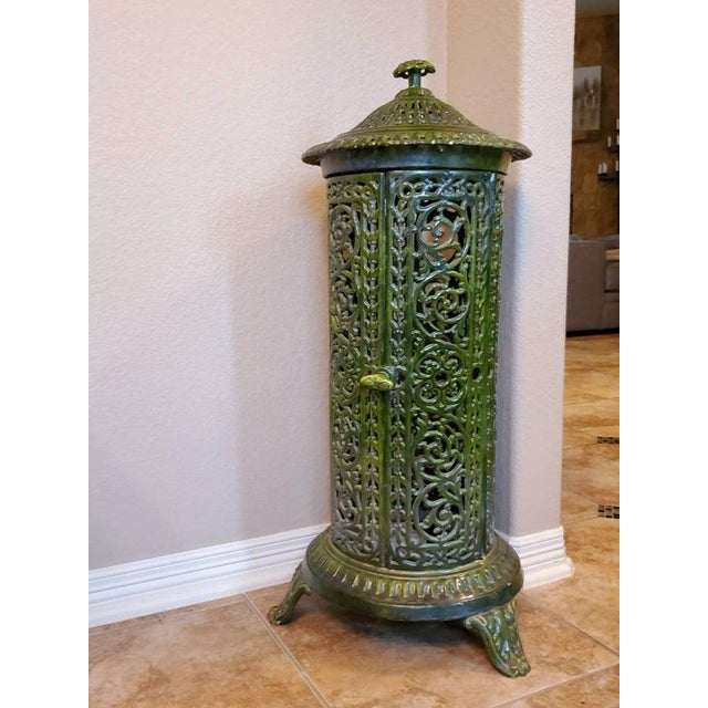 Decorative French Art Nouveau Enameled Cast Iron Antique Parlor Heater Stove For Sale - Image 9 of 11