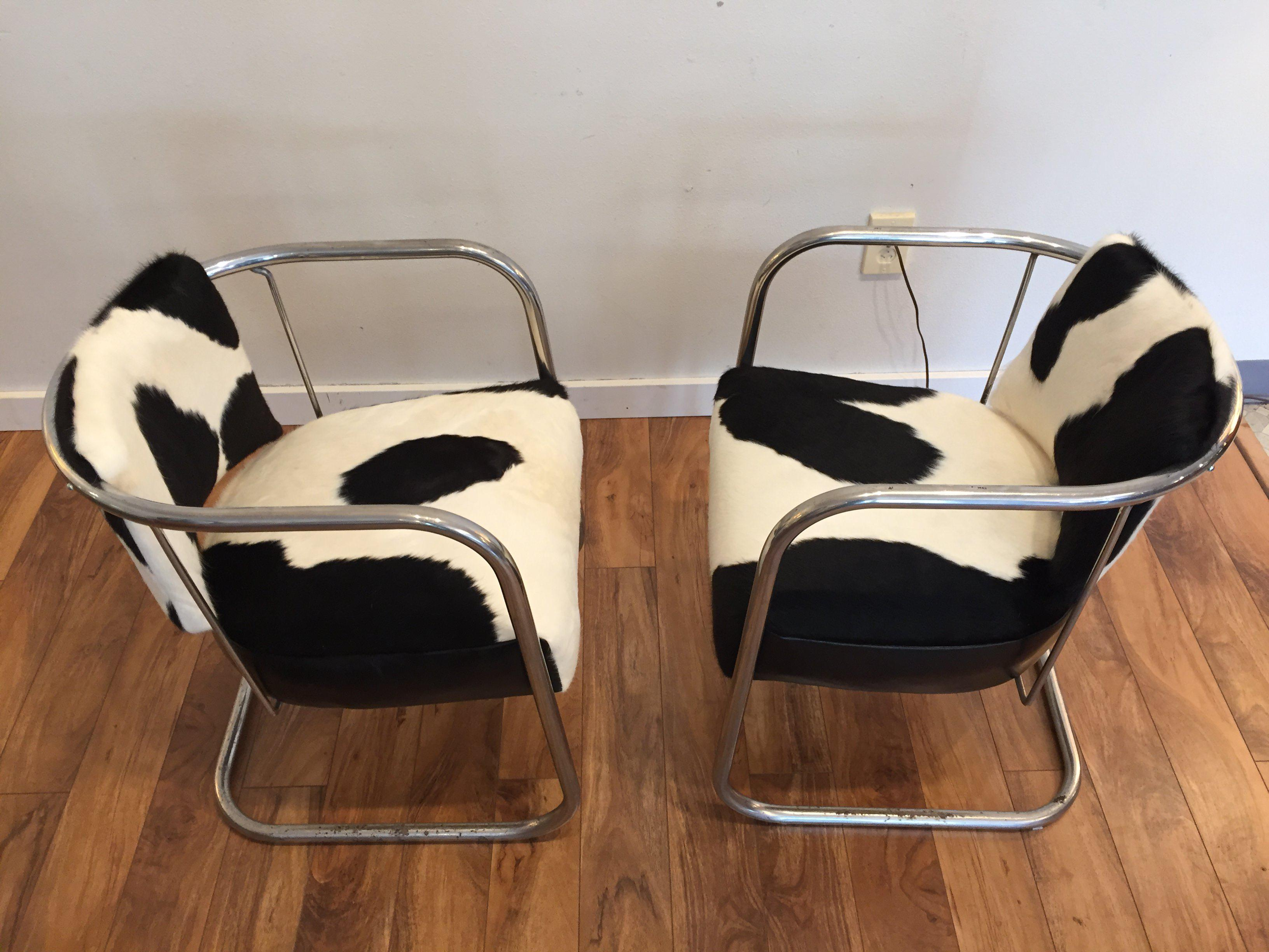 Vintage Cantilevered Cowhide U0026 Leather Chairs   A Pair For Sale In Seattle    Image 6