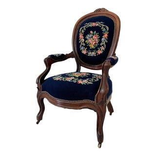 Antique Ca 1900s Louis Philippe Style Needlepoint Embroidered Arm Chair For Sale