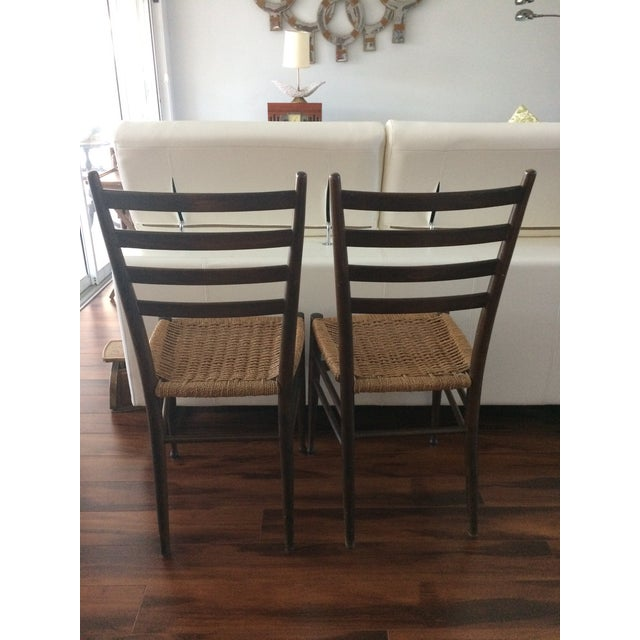 Vintage Italian Woven Seat Dining Chairs - A Pair - Image 4 of 11