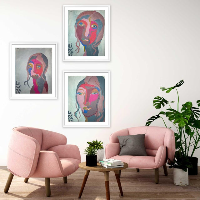 """Contemporary Abstract Portrait Painting """"This Is It, No. 2"""" - Framed For Sale - Image 11 of 12"""