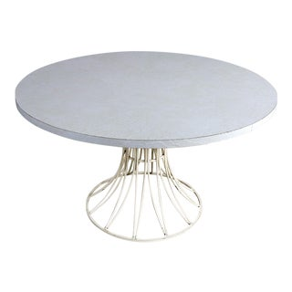 Mid Century Modern Round Wrought Iron and Laminate Patio Dining Table Style of Arturo Pani For Sale