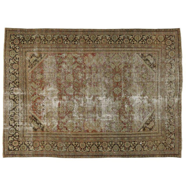 Textile Distressed Antique Persian Mahal Rug with Modern Industrial Style For Sale - Image 7 of 8