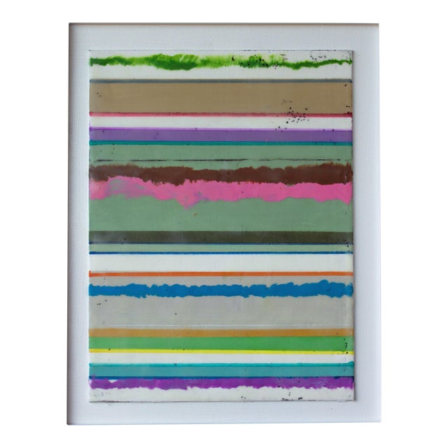 """Original Encaustic Mixed Media Painting by Gina Cochran """"Confections No. 34"""" - Stripes For Sale - Image 9 of 9"""