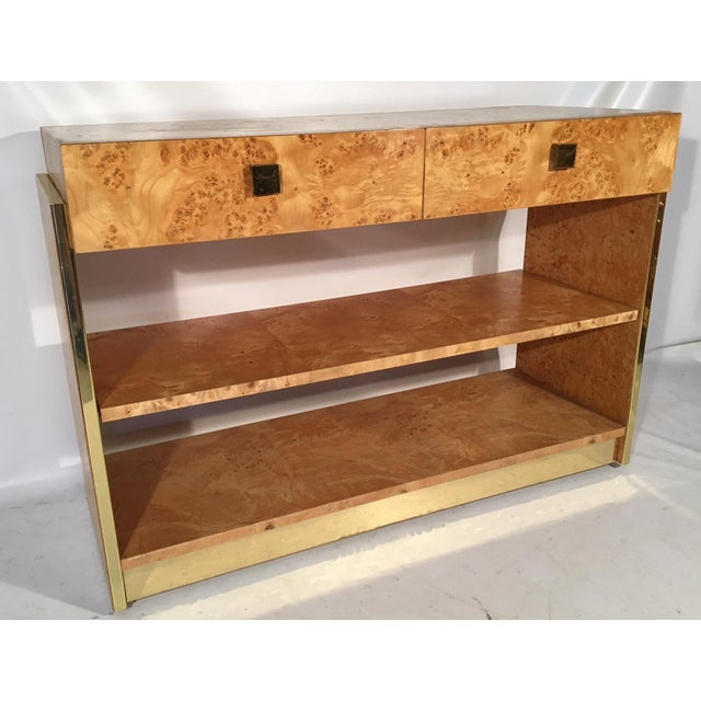Burl Wood and Brass Rolling Server For Sale - Image 10 of 10
