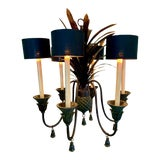 Image of 1960s Black Metal Pineapple Six-Light Chandelier For Sale