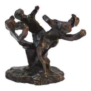 Vintage Dancing Figures Bronze Sculpture For Sale