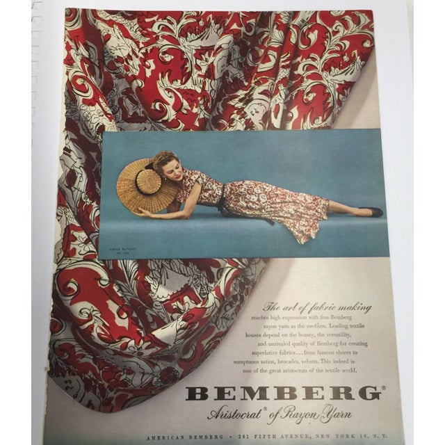Here is a vintage Bemberg Yarn advertisement. Classic full page ad ready for framing. Carefully removed from an art magazine.