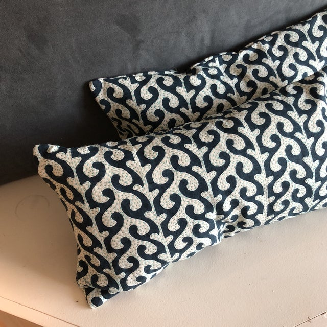 Navy Waves Hand Stitched Pillows - A Pair - Image 5 of 7
