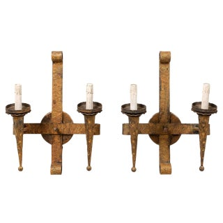 French Torch Style Gilt Hammered Iron Sconces With Scroll at Top - a Pair For Sale