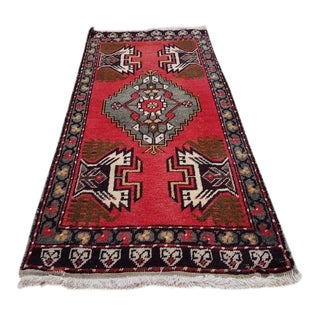 1970s Vintage Hand-Knotted Turkish Kurdish Wool Rug - 1′9″ × 3′7″ For Sale