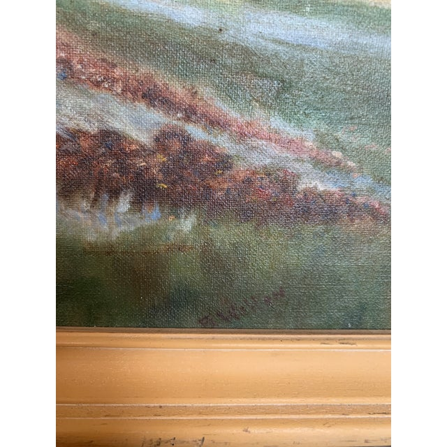 Impressionist Mountain Landscape With Snow Melt Painting Signed B Weldon For Sale - Image 3 of 6