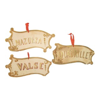 Antique French Hand-Painted Dance Signs - Set of 3