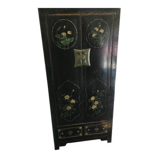 Asian Cabinet/Hutch With Painted Details For Sale