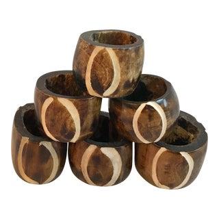 Vintage Carved Organic Napkin Rings - Set of 6 For Sale
