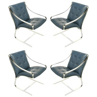 Four Bert England for Brueton Polished Steel & Cadet Blue Leather Lounge Chairs For Sale