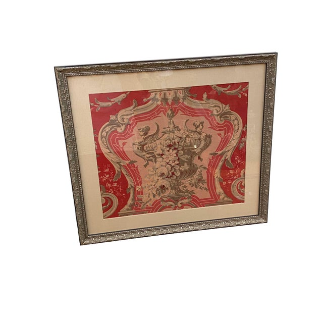 Vintage French Framed Fabric For Sale - Image 4 of 7