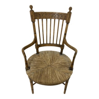 19th Century Rush Seat Arm Chair For Sale