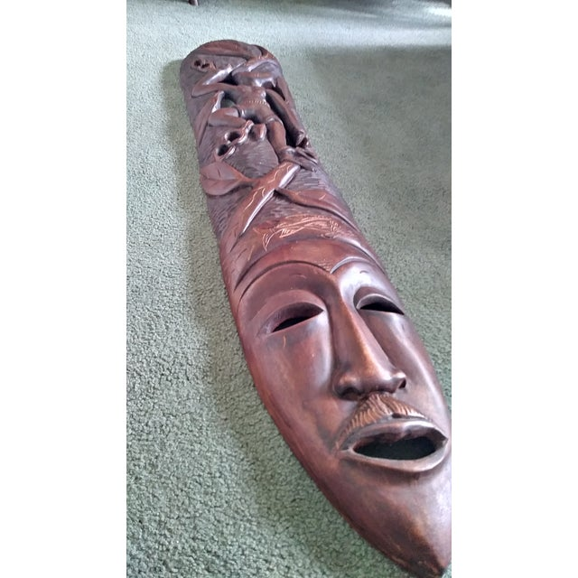 Vintage African Wooden Hand Carved Mask Wall Art