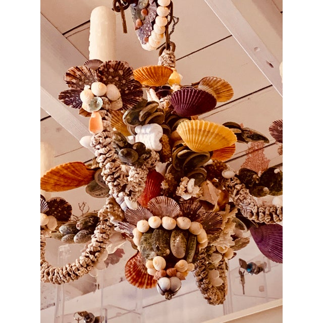 2010s Tiny Rainbow Shell Chandelier For Sale - Image 5 of 9